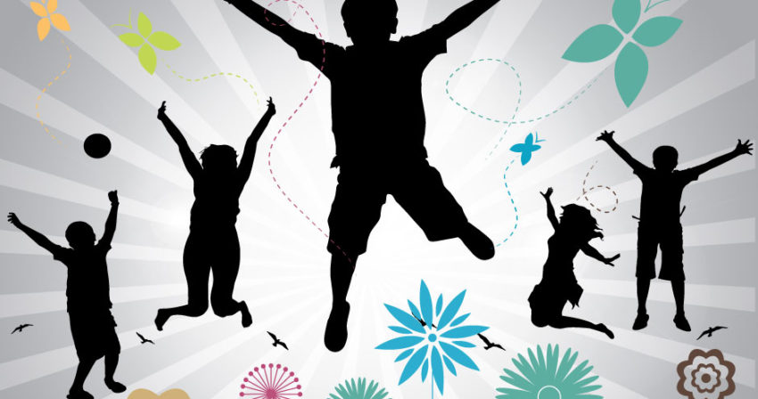 Spring-Kids and Flowers Banner