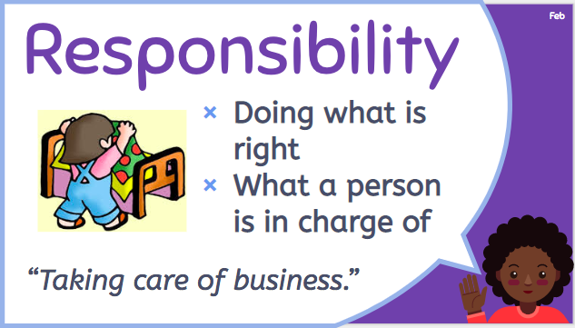 "child with speech bubble defining responsibility: ""doing what is right"""