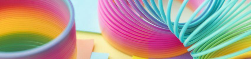 rainbow slinky bending over