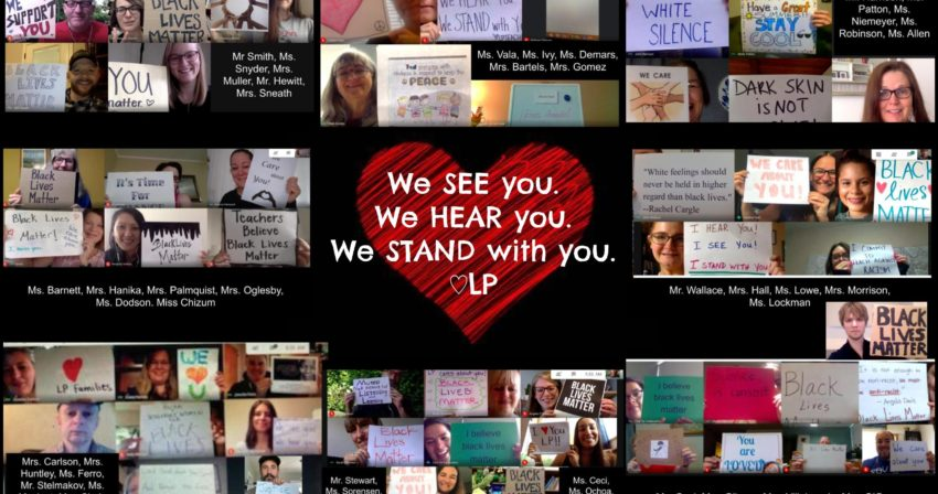 collage of staff members holding up signs to their webcams