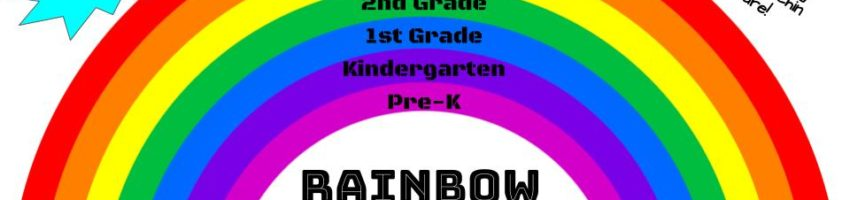 5th grade=red, 4th=orange, 3rd=yellow, 2nd=green, 1st=blue, K=purple, PK=pink