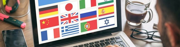 computer displaying flags of many countries