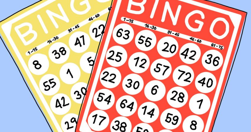 two bingo cards on a plain blue background
