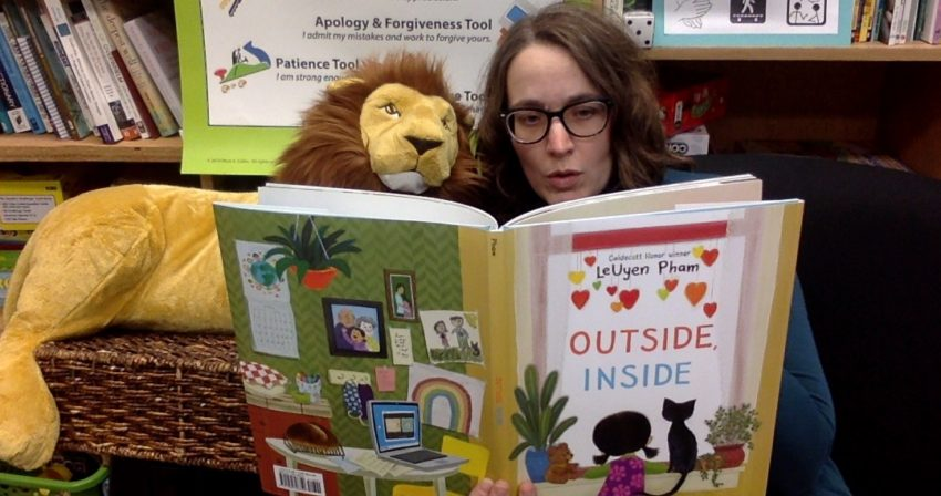Ms Snyder reads the book Outside, Inside, by LeUyen Pham with Leo the Lion