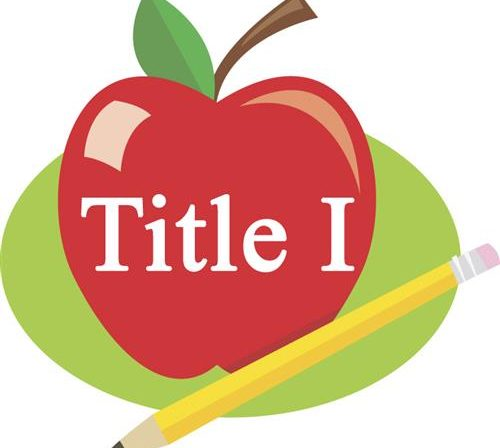 """An apple sitting next to a pencil with the words """"Title I"""" superimposed over the apple."""