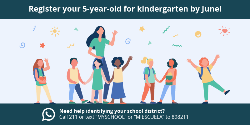 "Don't forget to register your 5-year-old for school by June! Visit https://multco.us/sun/register-school-june for information on how to register. If you don't know your school district, you can call 211 or text ""MYSCHOOL"" or ""MIESCUELA"" to 898211 to find out."