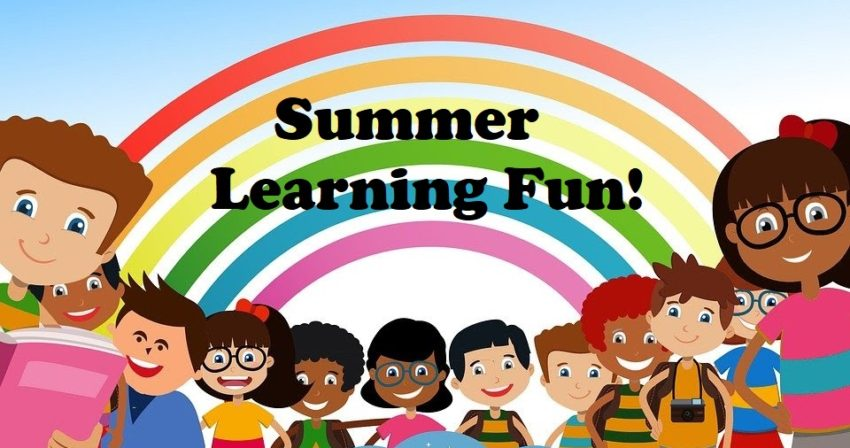 smiling children in front of a rainbow with text: Summer Learning Fun!